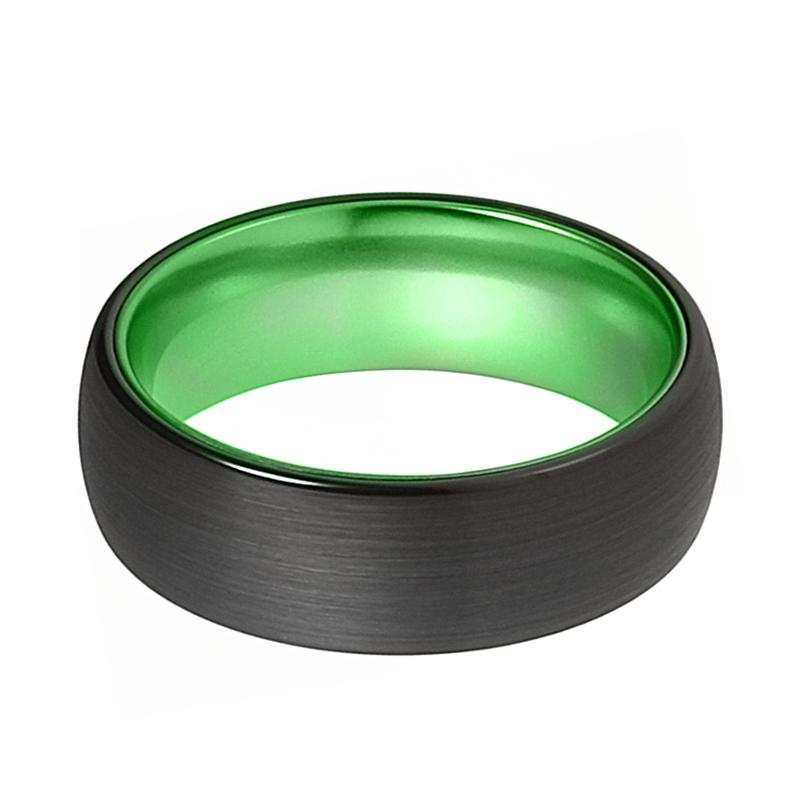LAMBO Domed Acid Greene & Black Tungsten Wedding Band Brushed Finished - Rings - Aydins_Jewelry