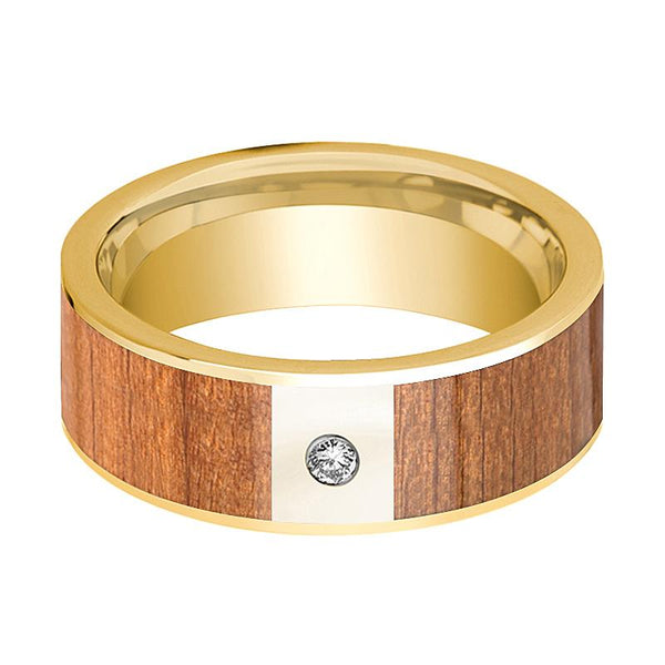 Mens Wedding Band 14k Yellow Gold Flat Wedding Ring with Sapele Wood Inlay Polished & Diamond - 8mm - AydinsJewelry