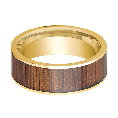 Image of Mens Wedding Ring 14K Pipe Cut Yellow Gold Ring Wedding Band with Rare Koa Wood Inlay and Polished Edges - 8mm - AydinsJewelry