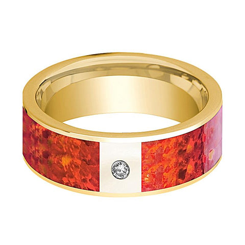 Image of Mens Wedding Band 14K Yellow Gold with Red Opal Inlay & Diamond Flat Polished Design - AydinsJewelry