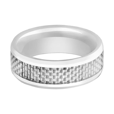 Image of White Ceramic Ring - White Carbon Fiber Inlay - Ceramic Wedding Band - Beveled - Polished Finish - 8mm - AydinsJewelry