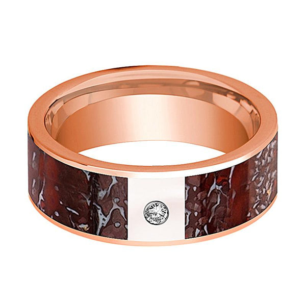 ARROW Red Dinosaur Bone Inlaid 14k Rose Gold Men's Wedding Band with Diamond Flat Polished Design - 8MM - Rings - Aydins_Jewelry