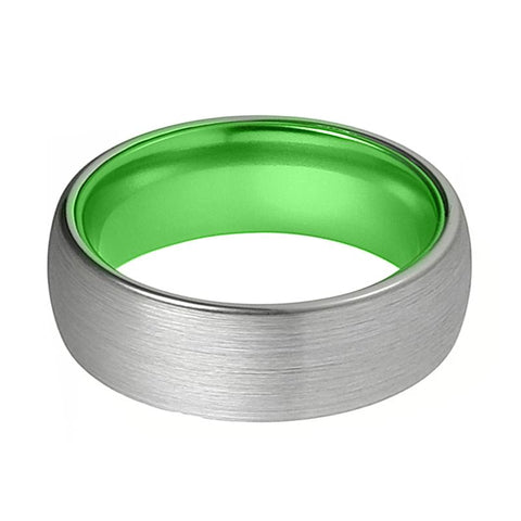 Image of Tungsten Green Ring - Mens Wedding Band - Silver Tungsten Brushed - Acid Green Tungsten - Domed - Tungsten Wedding Ring - Man Tungsten Ring - AydinsJewelry