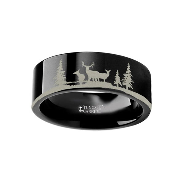 Animal Landscape Scene - Deer Stag Mountain Range Ring - Laser Engraved - Flat Tungsten Ring - 4mm - 6mm - 8mm - 10mm - 12mm - Rings - Aydins_Jewelry