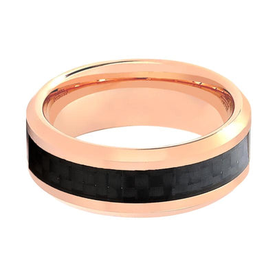 Aydins Rose Gold & Carbon Fiber Inlay Tungsten Wedding Ring for Men & Women Tungsten Carbide Band - AydinsJewelry