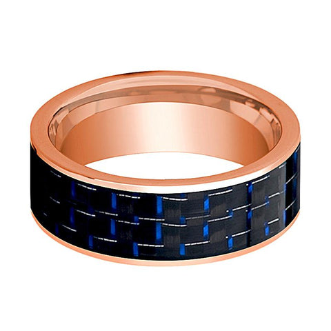 Image of Mens Wedding Band 14K Rose Gold with Blue & Black Carbon Fiber Inlay Flat Polished Design - AydinsJewelry