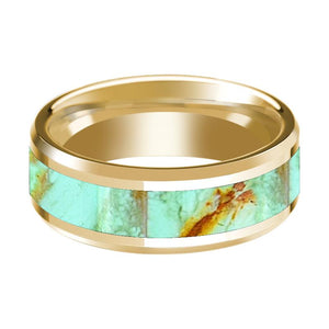 14K Yellow Gold Mens Wedding Ring Inlaid with Turquoise Stone Beveled Edge Polished Design - Rings - Aydins_Jewelry