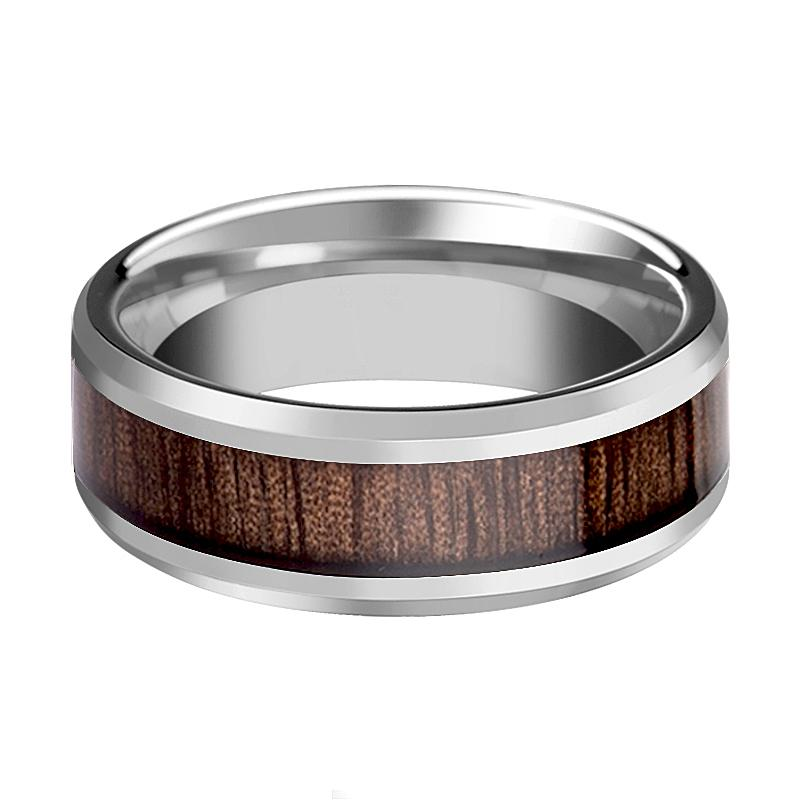 Redwood Inlaid Tungsten Carbide Couple Matching Ring with Beveled Edges -  4MM - 12MM