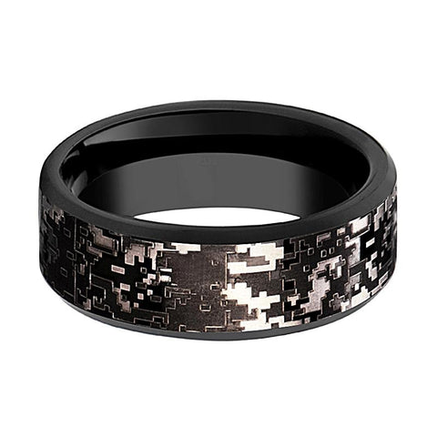 Image of Camo Wedding Band - Black Tungsten - Black Digital Camo  - Tungsten Wedding Band - Beveled - Polished Finish - 8mm - Tungsten Wedding Ring - Rings - Aydins_Jewelry