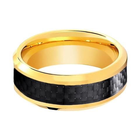 Gold Tungsten Couple Matching Ring with Black Carbon Fiber Inlay - 6MM - 8MM - Rings - Aydins_Jewelry
