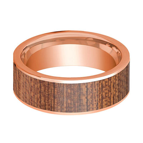 Image of Flat 14k Rose Gold Wedding Band for Men with Sapele Wood Inlay - 8MM - Rings - Aydins_Jewelry