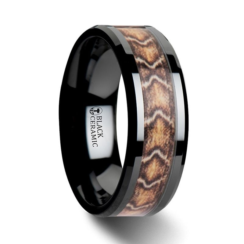 FANG Black Ceramic Wedding Ring with Boa Snake Skin Design Inlay - 8mm