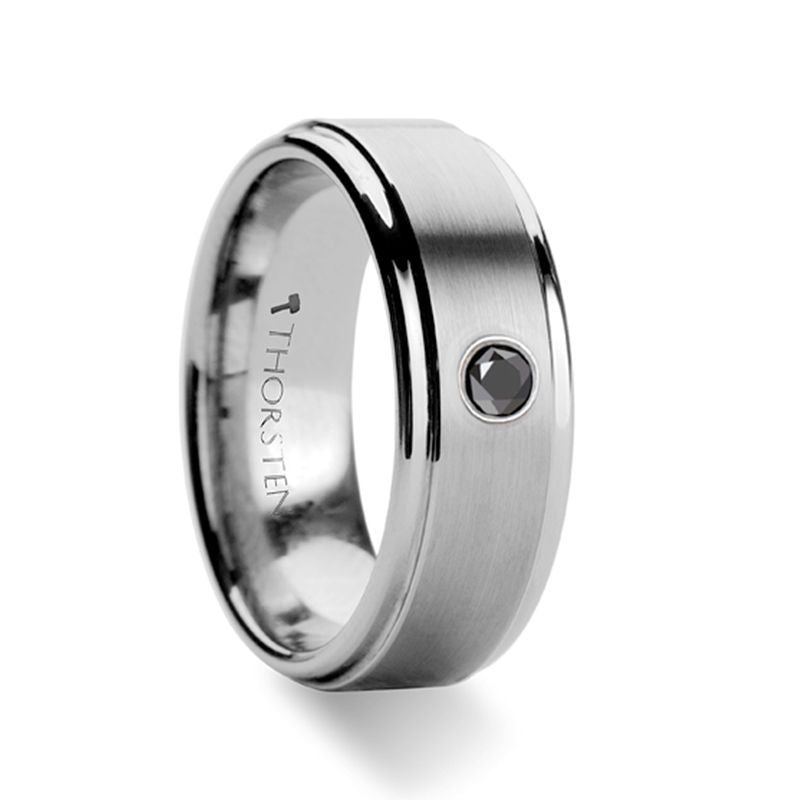 COVENTRY Raised Brushed Center Tungsten Ring with Black Diamond - 8mm