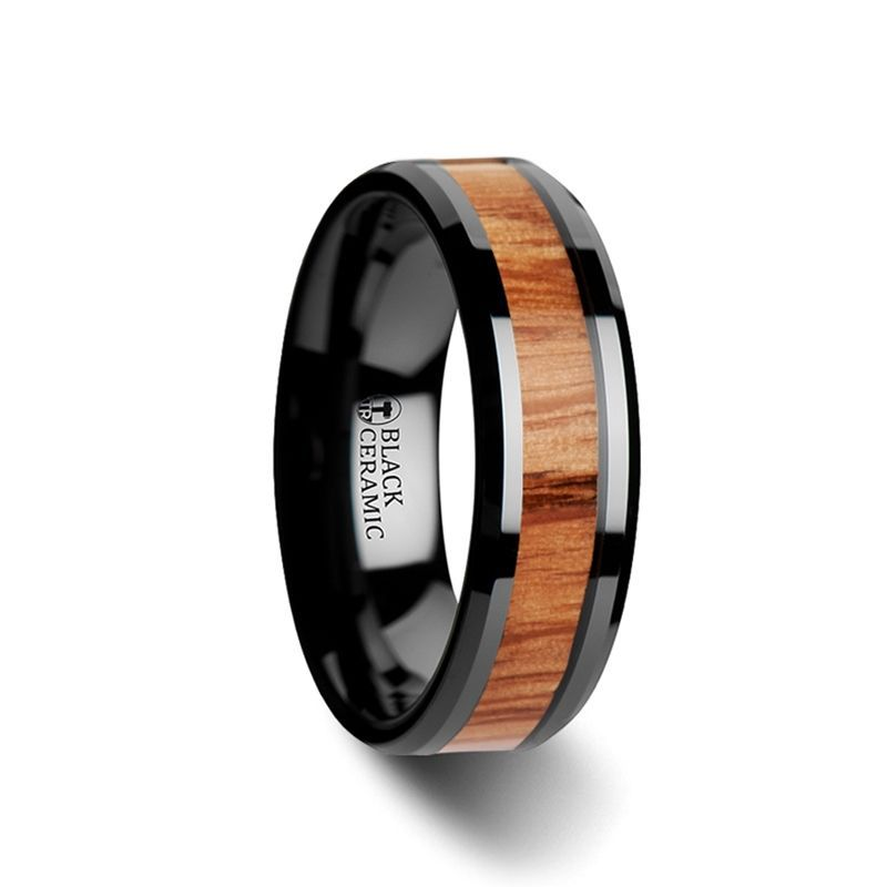 OBLIVION Red Oak Wood Inlaid Black Ceramic Ring with Bevels - 6mm - 10mm