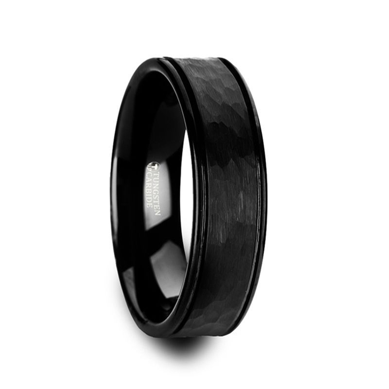 JOINER Hammered Finish Center Black Tungsten Carbide Wedding Band with Dual Offset Grooves and Polished Edges - 6mm or 8mm