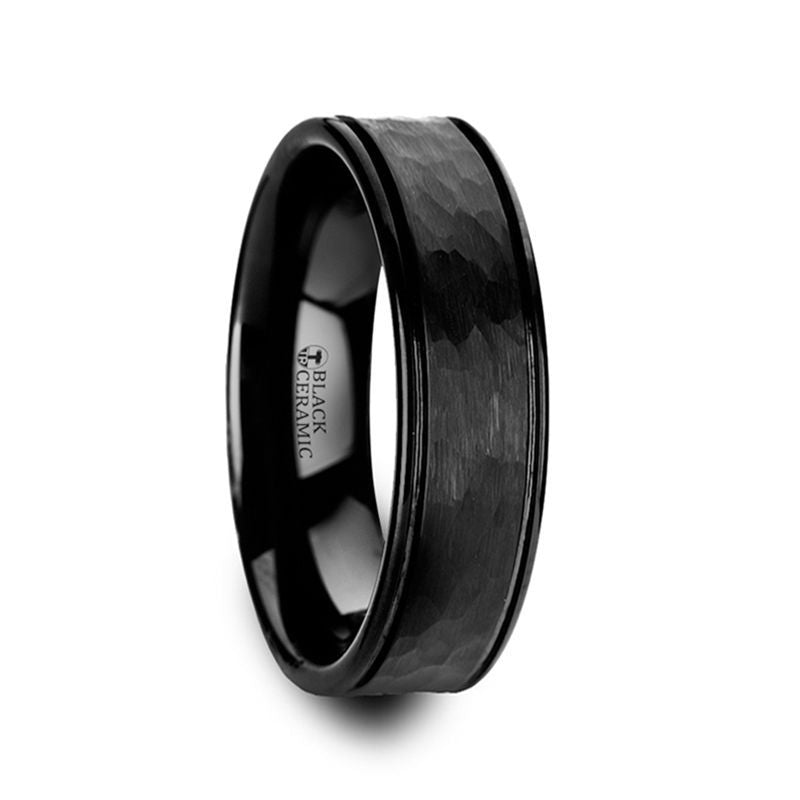 REVENANT Hammered Finish Center Black Ceramic Wedding Band with Dual Offset Grooves and Polished Edges - 6mm or 8mm