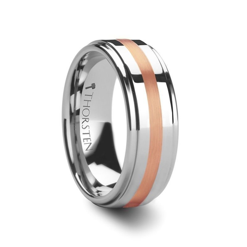 NICOLAUS Rose Gold Inlaid Raised Center Tungsten Carbide Ring - 8mm