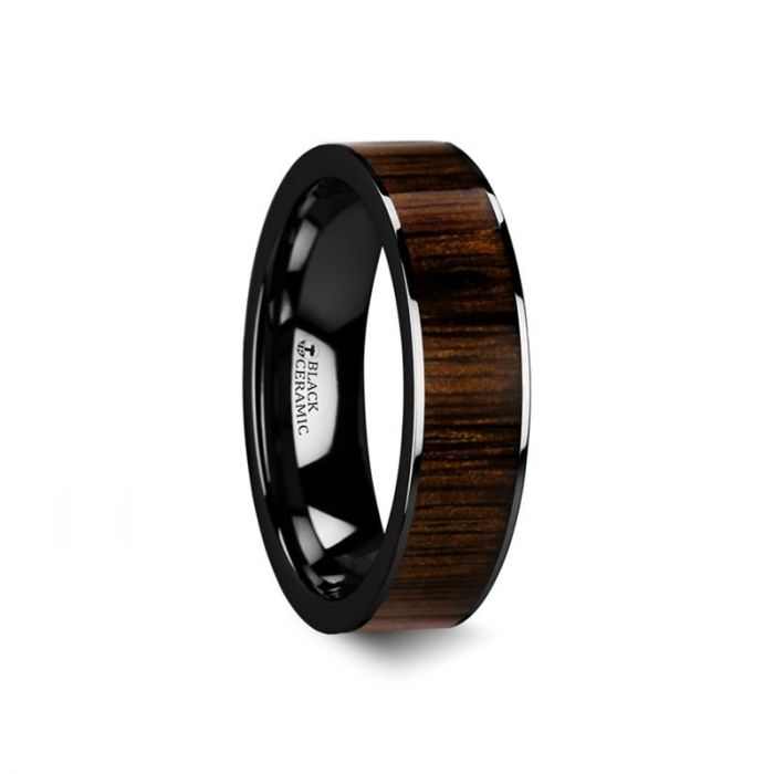 KENDO Black Ceramic Polished Finish Ring with Black Walnut Wood Inlay - 6mm, 7mm, 8mm, 10mm