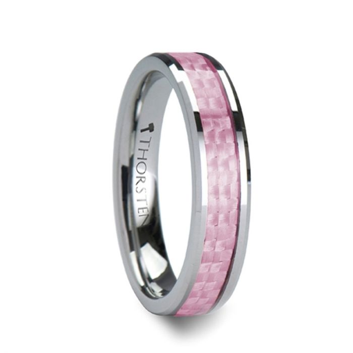 PINK Beveled Tungsten Wedding Band with Pink Carbon Fiber - 6mm