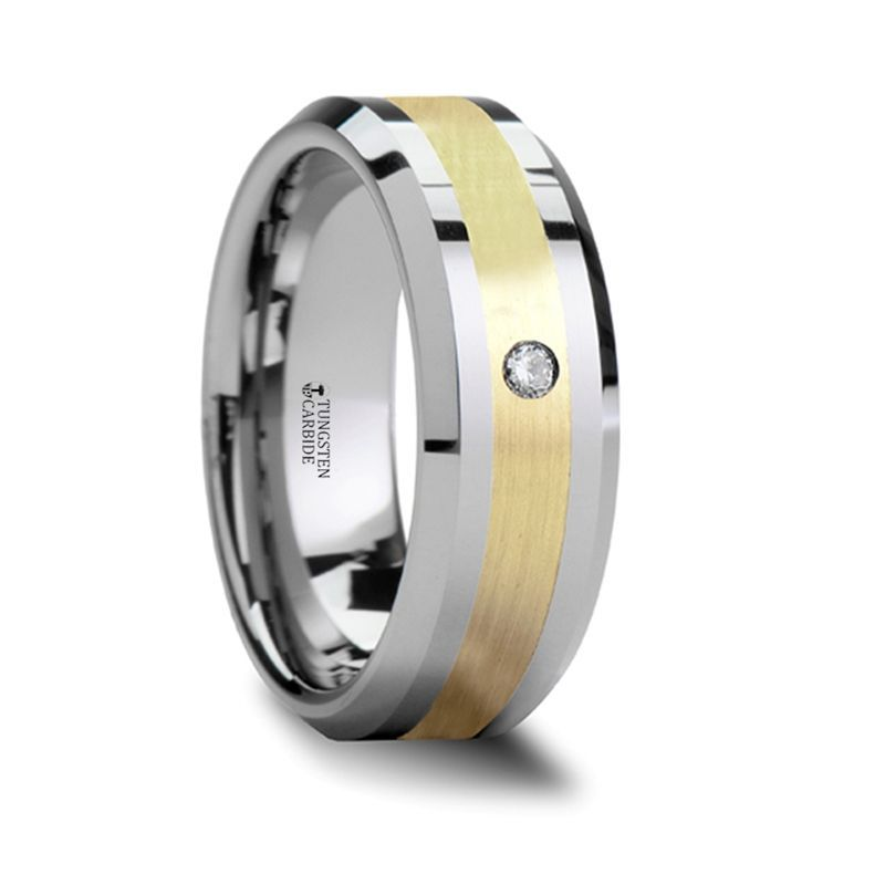 FABIAN 14K Gold Inlaid Beveled Tungsten Ring with Diamond - 6mm & 8mm