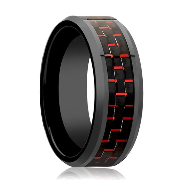 Black Ceramic Ring - Black & Red Carbon Fiber  - Ceramic Wedding Band - Beveled - Polished Finish - 4mm - 6mm - 8mm - 10mm - AydinsJewelry