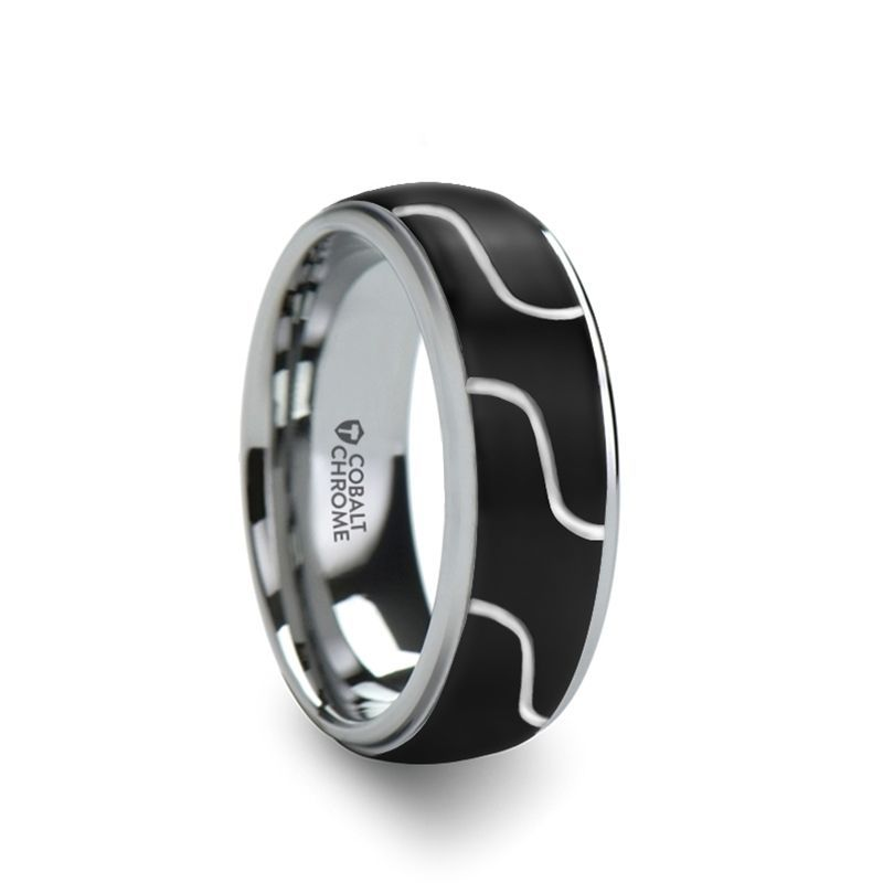 FUSION Cobalt Chrome Ring with Diagonal Pattern and Polished Edges - 8mm