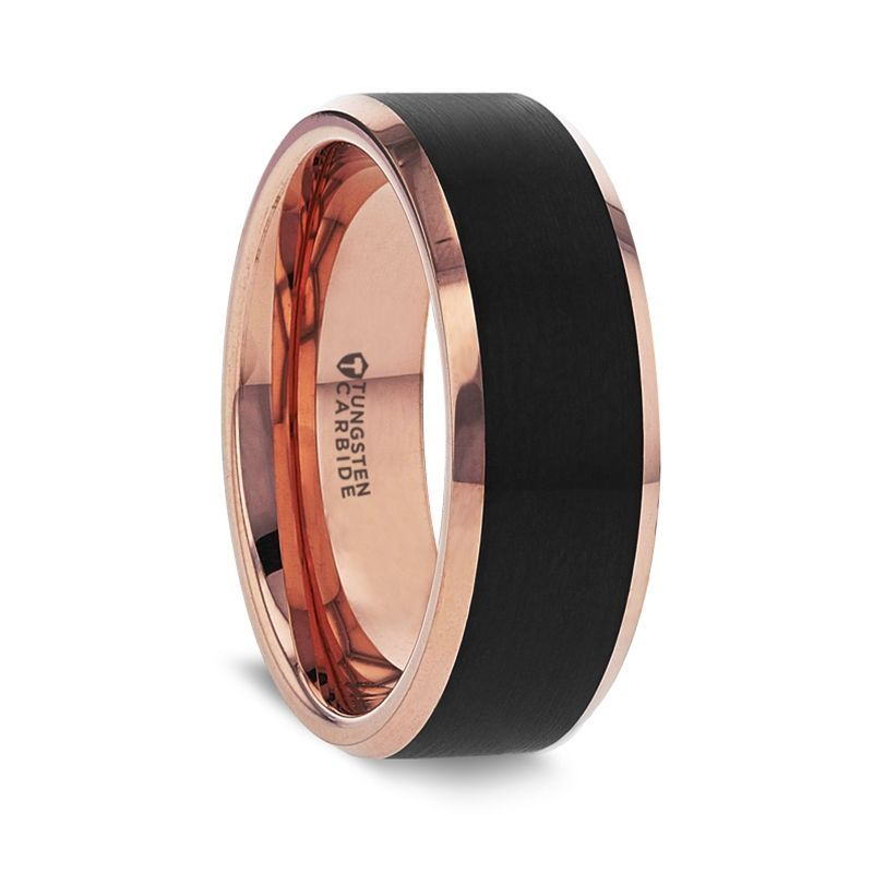 HAYDEN Rose Gold Plated Tungsten Polished Beveled Ring with Brushed Black Center - 6mm & 8mm