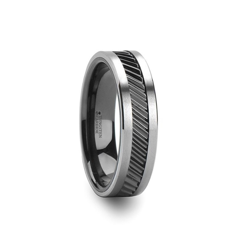 HELIX Gear Teeth Pattern Black Ceramic and Tungsten Ring - 6mm, 8mm, 10mm