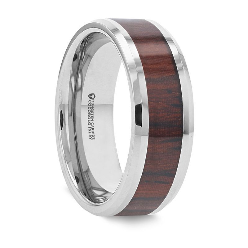 PRESLEY Tungsten Carbide Ring with Rich Cocobolo Wood Inlay – 8mm