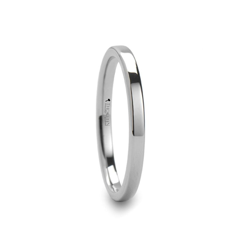 STOCKTON Flat Style White Tungsten Ring - 2mm - 6mm - 7mm