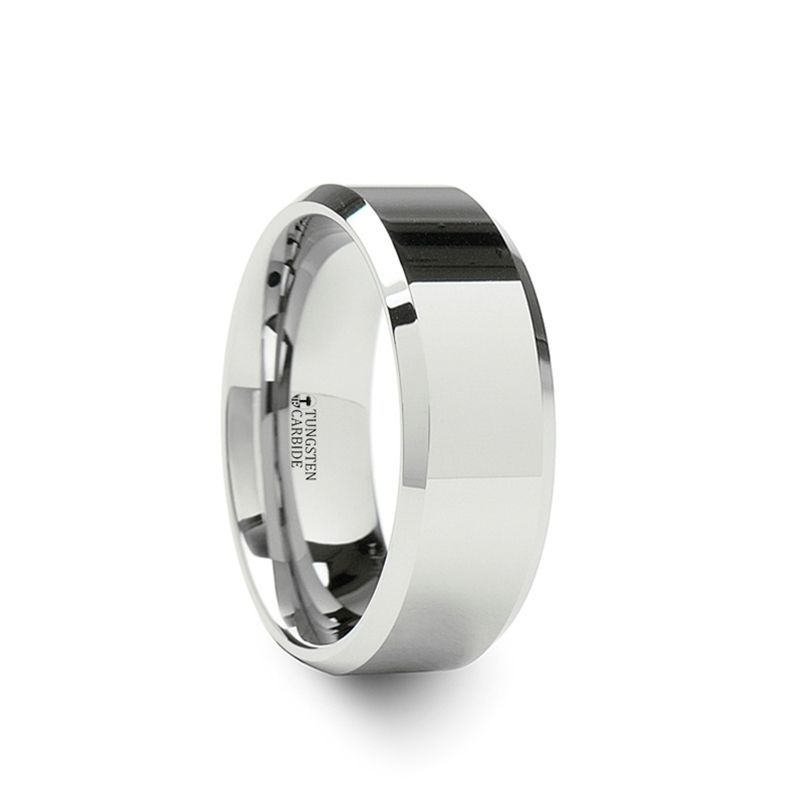 LINCOLN White Tungsten Wedding Band with Beveled Edges - 10mm - 12mm