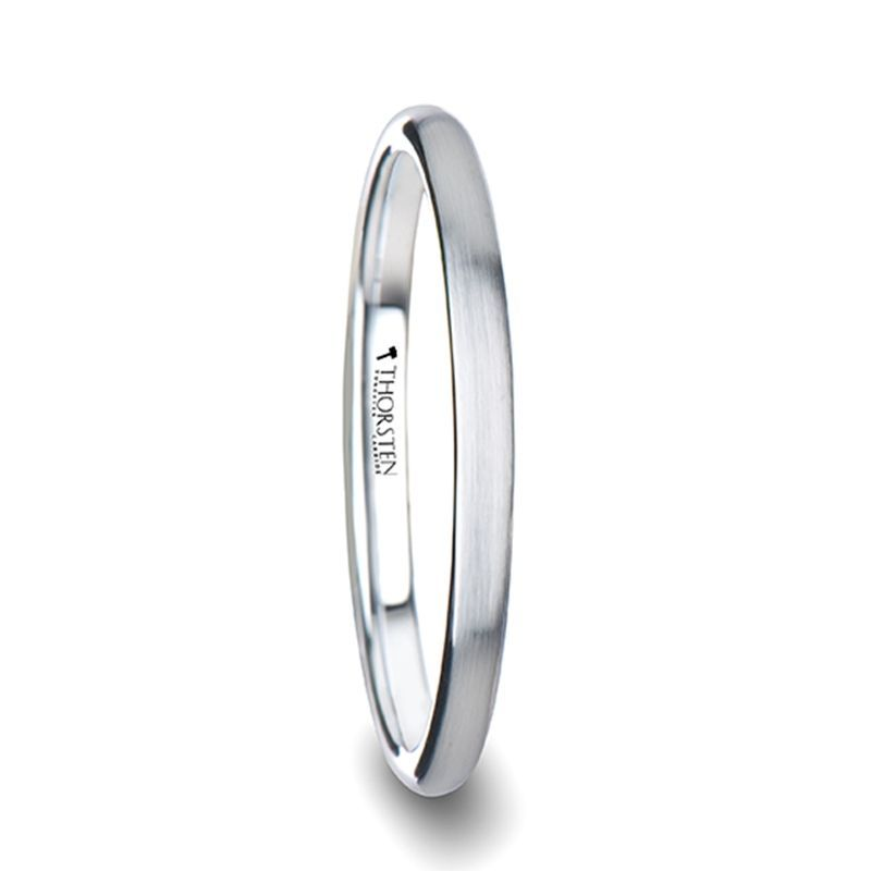 PYTHIUS Domed Brush Finished White Tungsten Ring - 2mm - 8mm
