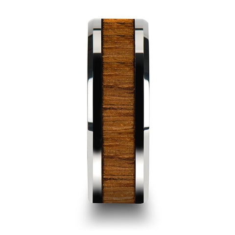 Image of Tungsten Wood Ring - Teak Wood  - Tungsten Wedding Band - Polished Finish - 6mm - 8mm - 10mm - Tungsten Wedding Ring - AydinsJewelry