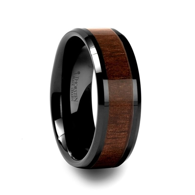 YUKON Beveled Black Ceramic Ring with Black Walnut Wood Inlay - 10mm - 12mm