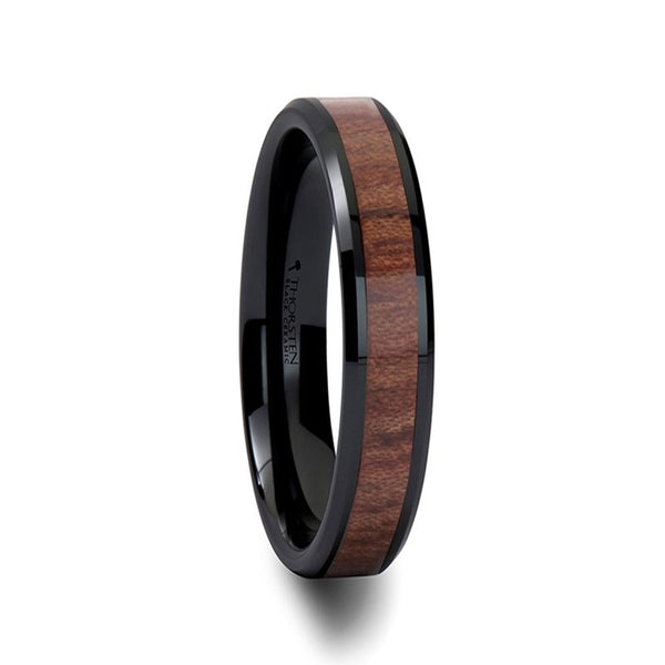 DENALI Black Ceramic Wedding Band with Bevels and Rosewood Inlay - 4mm - 8mm