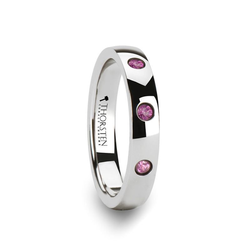 DIANA Domed White Tungsten Wedding Band with 3 Pink Sapphires - 4 mm