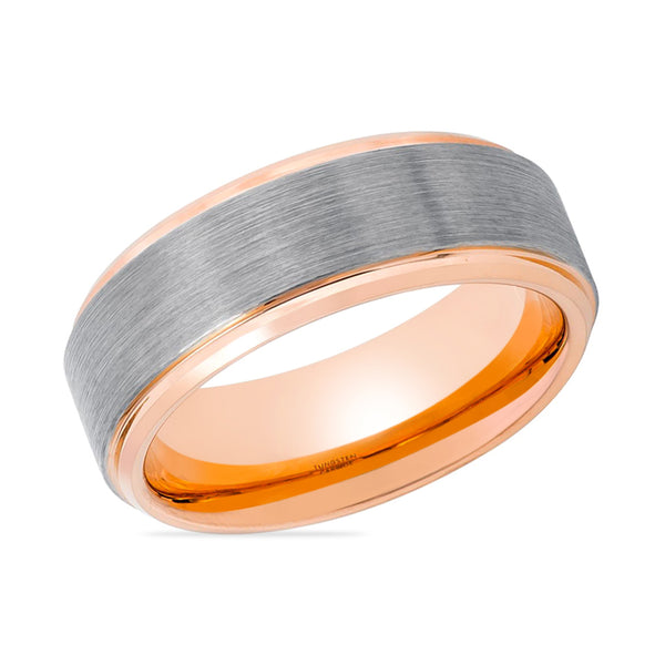 ZANDER Rose Gold Tungsten Couple Matching Wedding Band Silver Inlaid