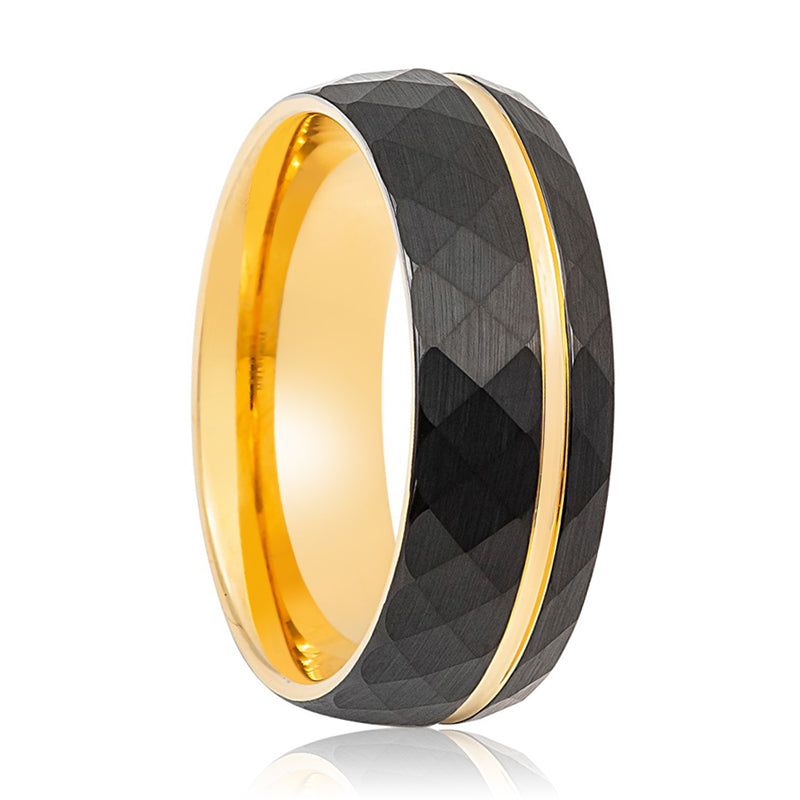 Brushed Yellow Gold & Faceted Black Ring with Off-Center Groove at the Ring