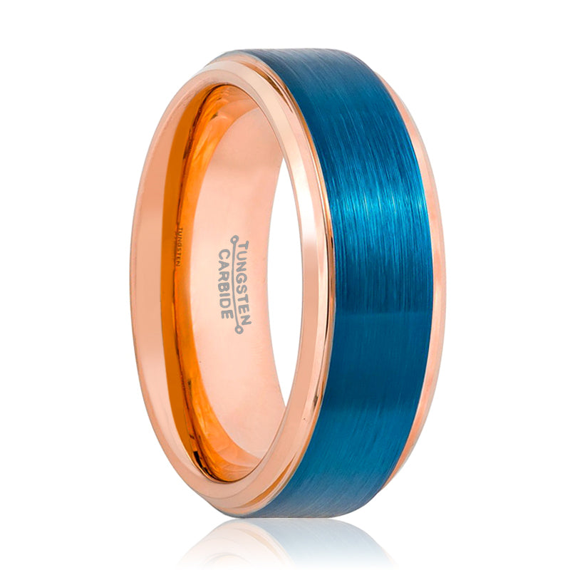 Two Tone Rose & Blue Stepped Edge Tungsten Ring - 8MM