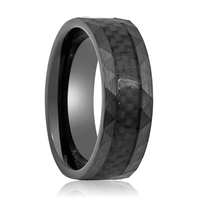 Tungsten Wedding Ring with Carbon Fiber Center Faceted Sides.