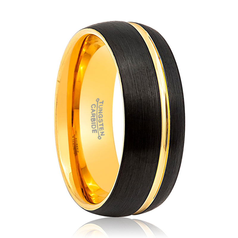 Two Tone Brushed Yellow Gold & Black Groove Tungsten Ring - 8mm wide