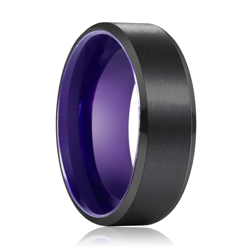 Tungsten Black Beveled and Purple Inside Aluminum Ring