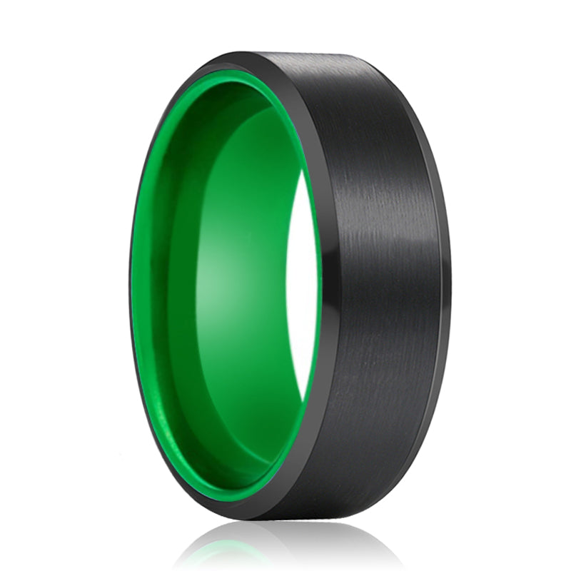 Tungsten Black Beveled and Green Inside Aluminum Ring