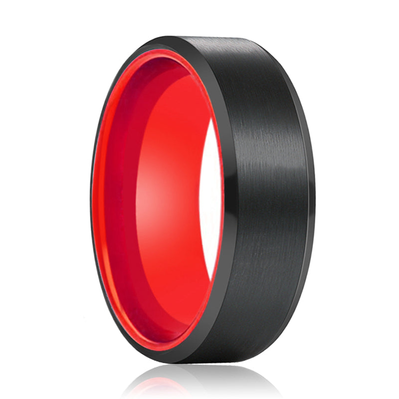 Tungsten Black Beveled and Red Inside Aluminum Ring
