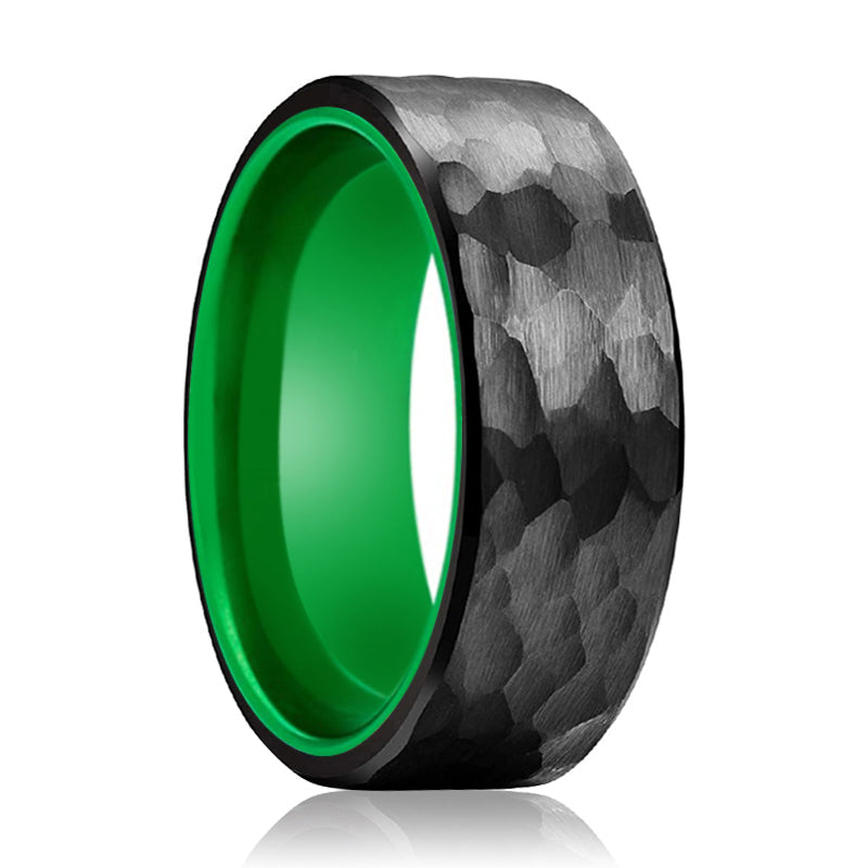 DRAGONFLY Black Hammered Ring with Green Inside Aluminum Ring