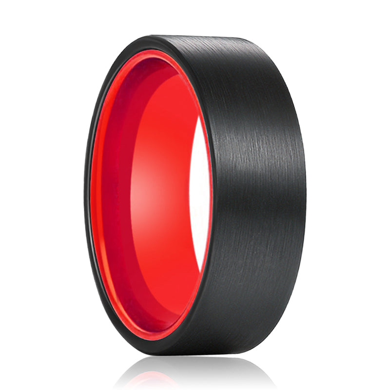 Tungsten Black Flat and Red Inside Aluminum Ring