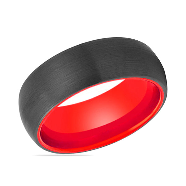 FERRARI Domed Tungsten Wedding Ring With Black Brushed Center & Fire Red Inside