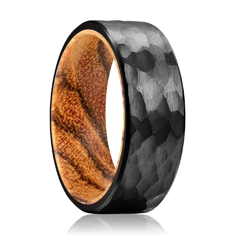 CLOVE Black Hammered Ring with a Comfort-Fit Bocote Wood Sleeve Inlay Ring