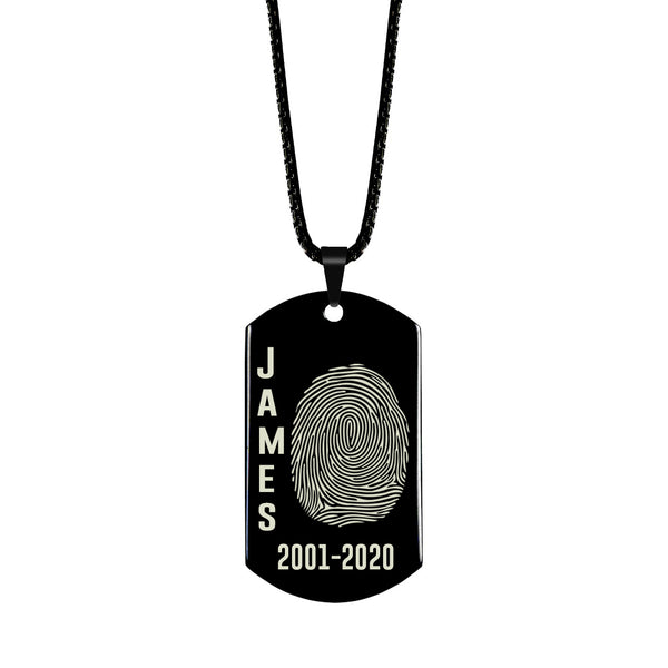 Shiny Stainless Steel Fingerprint Dog Tag with Name Left Fingerprint Right