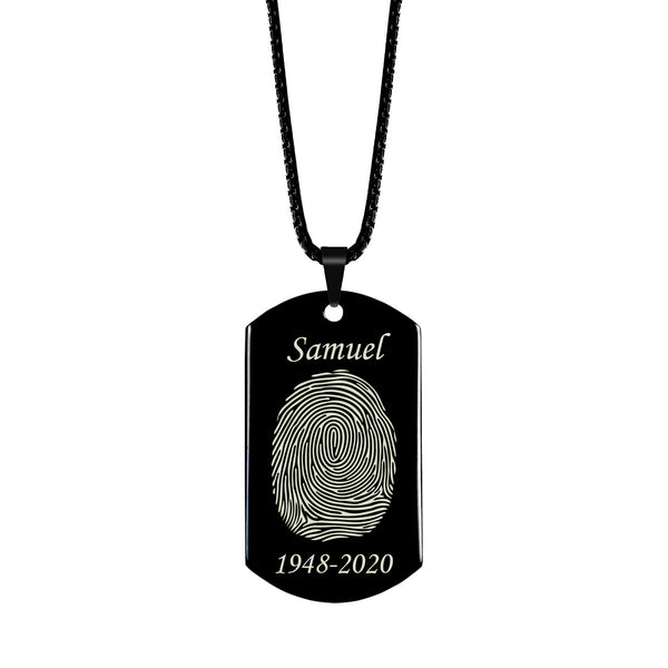 High Polished Stainless Steel Fingerprint Dog Tag Necklace